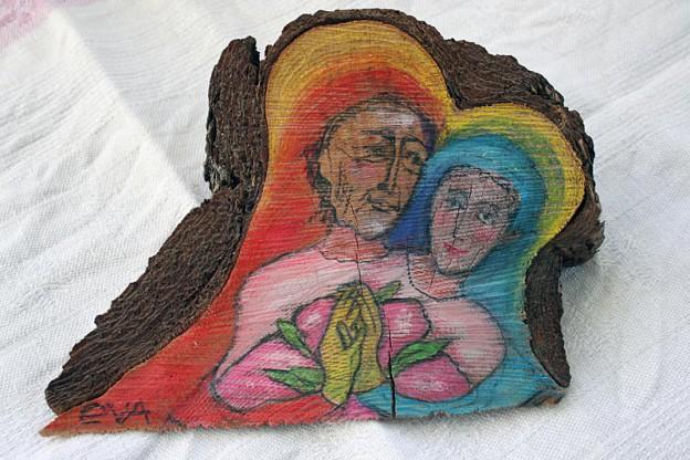 """Målning på trä, """"Systerskap"""""""
